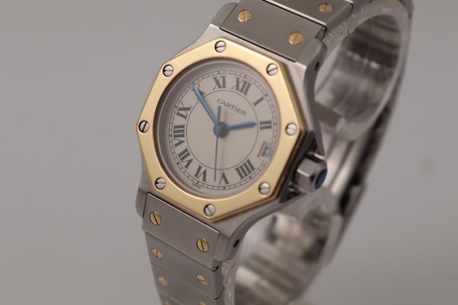 Cartier Santos Ronde Stahl/ Gold Damenuhr