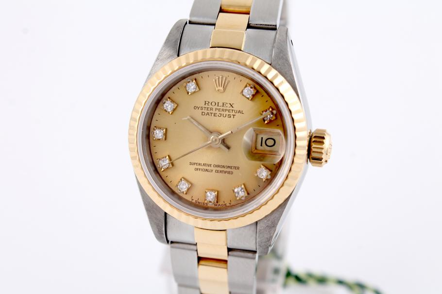 rolex datejust damen stahl gold mit diamantblatt. Black Bedroom Furniture Sets. Home Design Ideas
