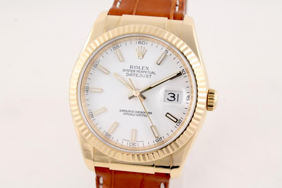 Rolex Datejust in 18K YG Gelbgold am Lederband